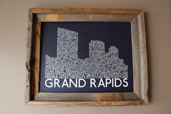 Grand Rapids Skyline Word Print