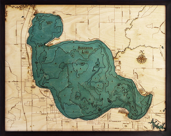 Houghton Lake Michigan Wood Map Art