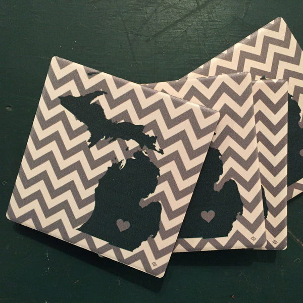 Michigan State Coasters - Chevron Print
