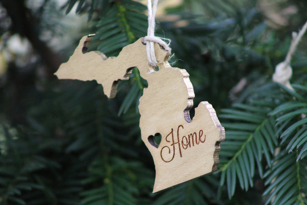Michigan Christmas Ornament - Gold