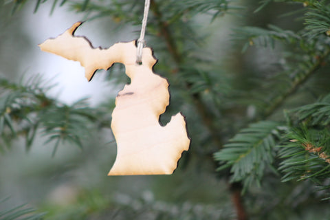 Michigan Christmas Ornament - Natural
