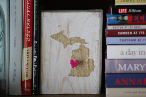 Mini Michigan Block Sign with Heart