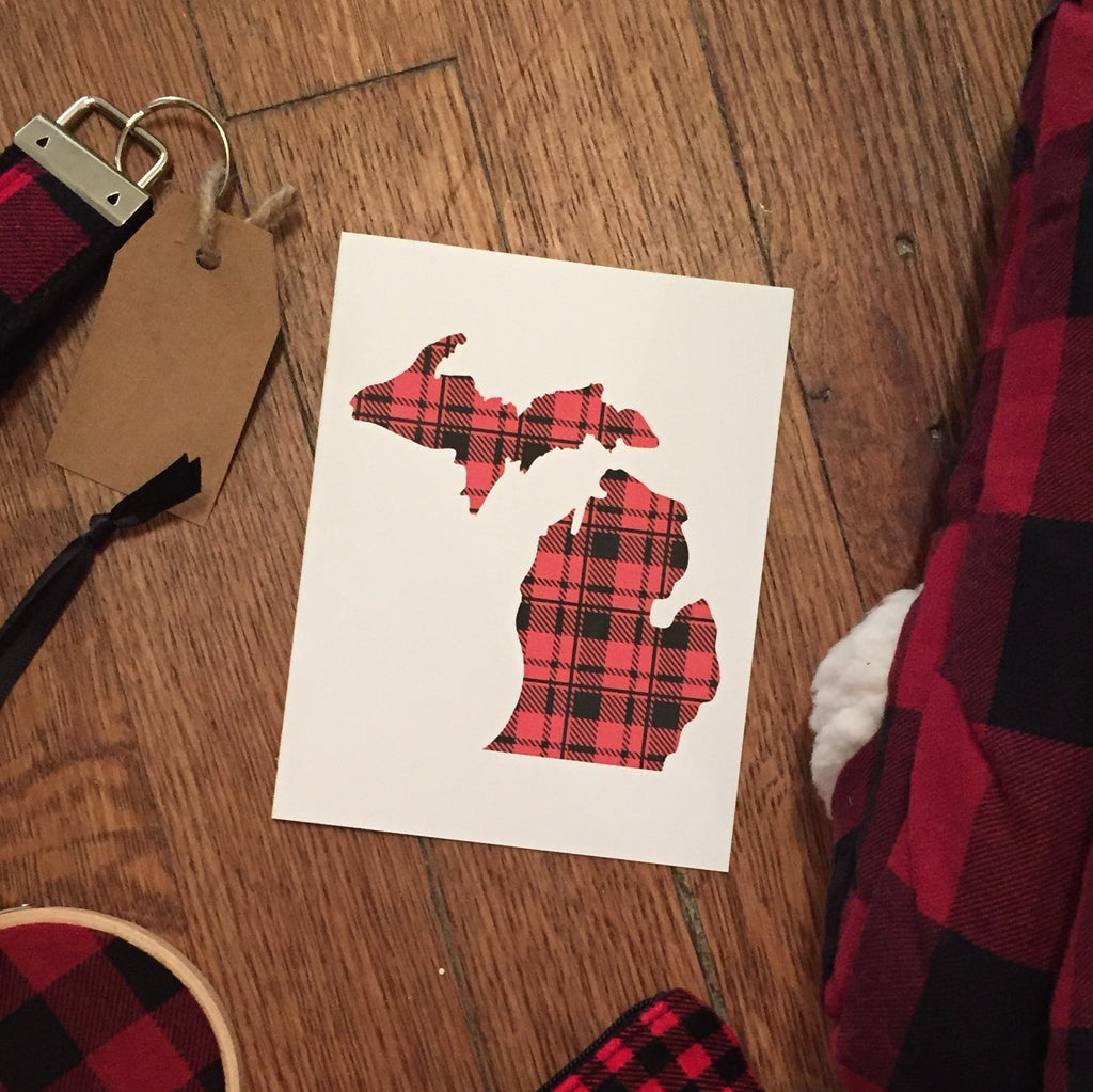 Buffalo Plaid Michigan Card