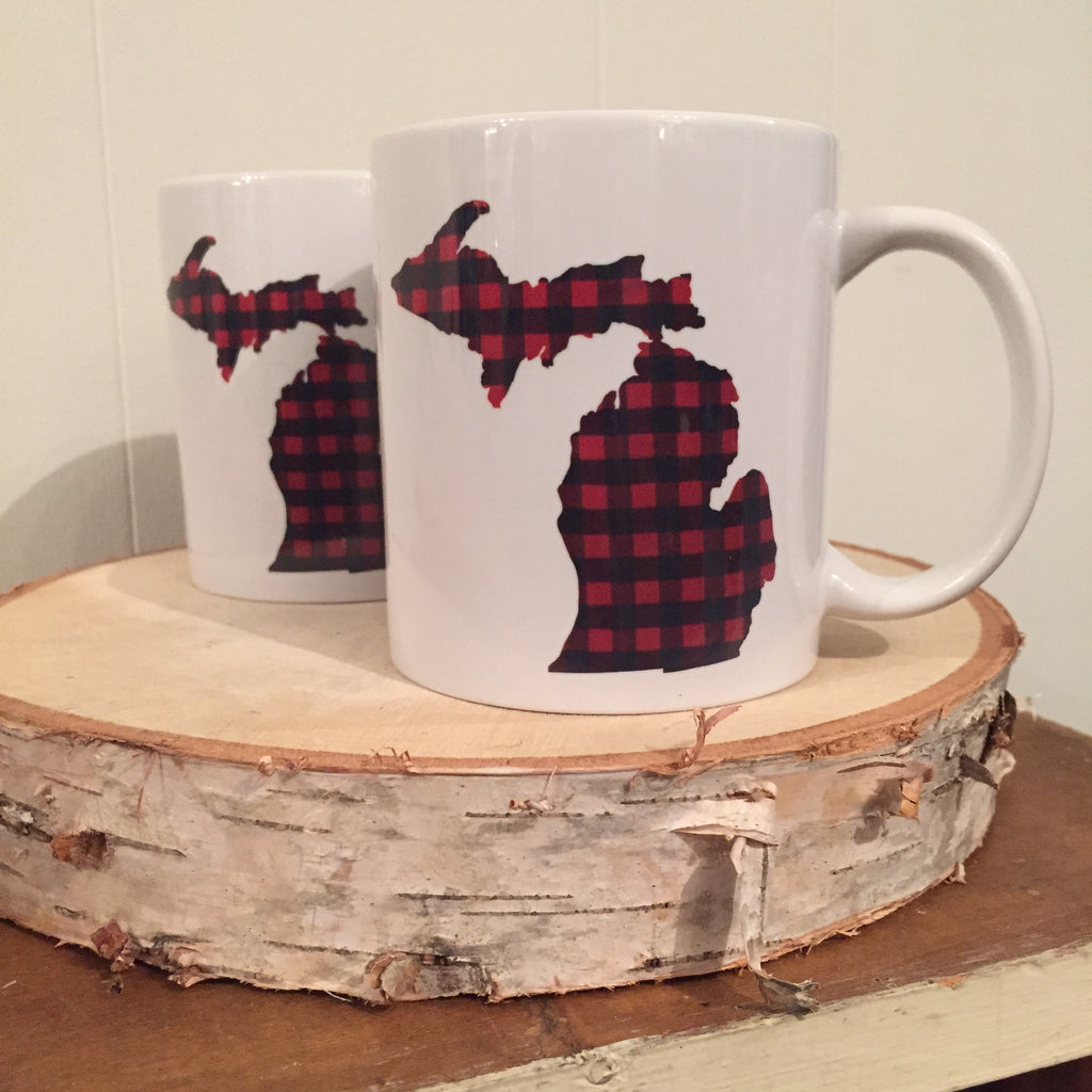 Michigan Mug - Buffalo Plaid
