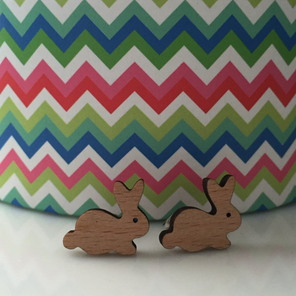 Bunny Wood Earrings