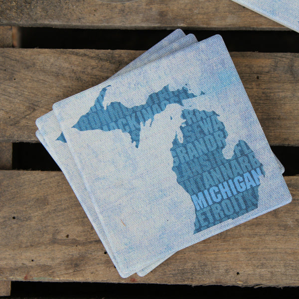 Type Print Michigan Coasters