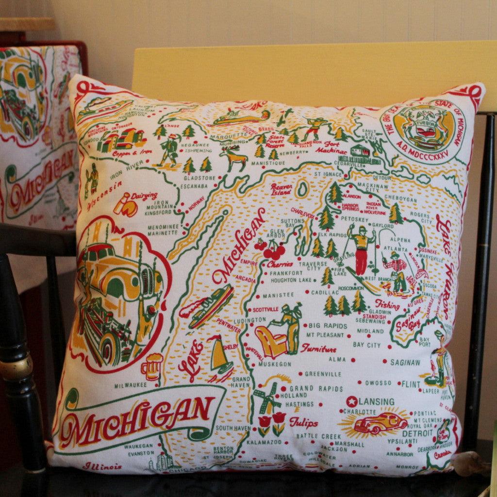 Michigan Vintage Map Pillow