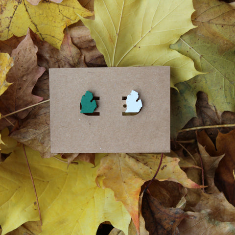 Michigan Wood Earrings - Green and White