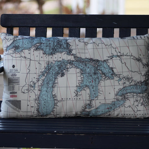 Great Lakes Map Lumbar Pillow