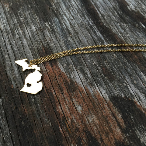 Michigan Heart Necklace - Gold