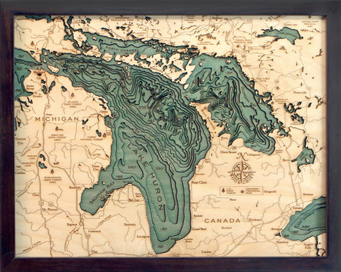 Lake Huron Water Depth Wood Chart