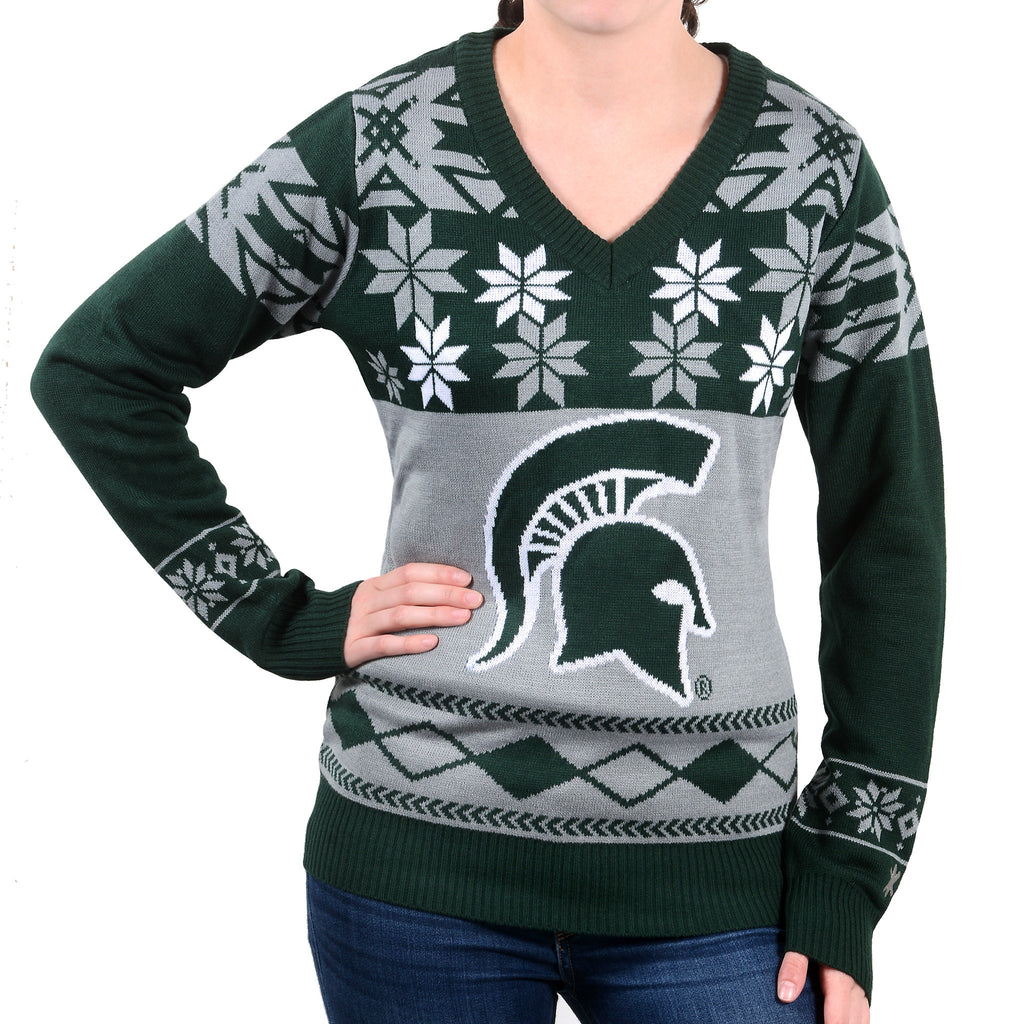 Michigan State MSU Spartans Ugly Christmas Sweater Women's V-Neck