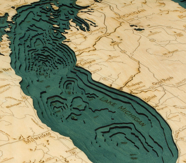 Lake Michigan Wood Chart - Close up