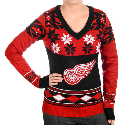 Detroit Red Wings Ugly Christmas Sweater Women's V-Neck