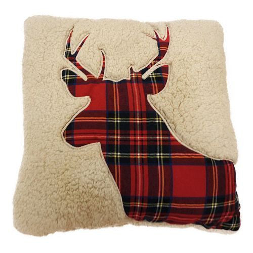 Sherpa Plaid Deer Pillow