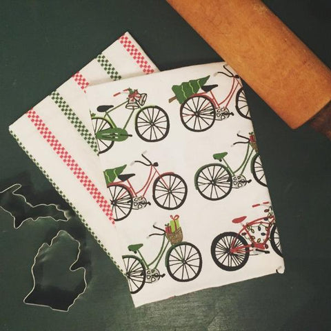 Christmas Bike Kitchen Towel - 2-pack