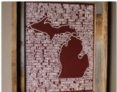 Wineries of Michigan Map Print