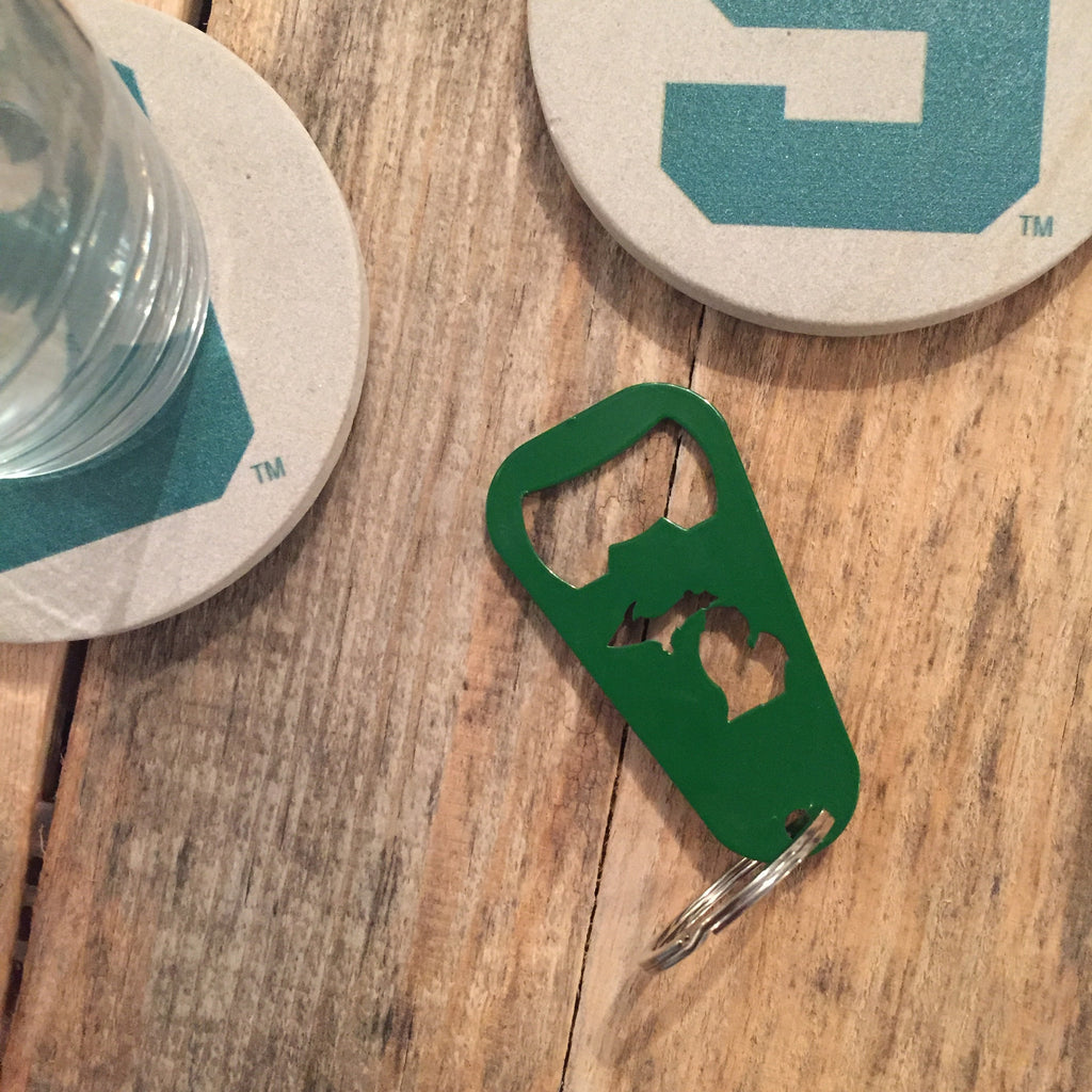 Michigan Key Chain Bottle Opener - Green