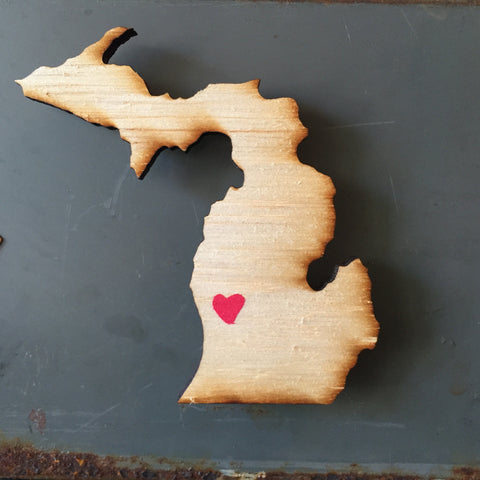 Michigan Personalized Heart Magnet