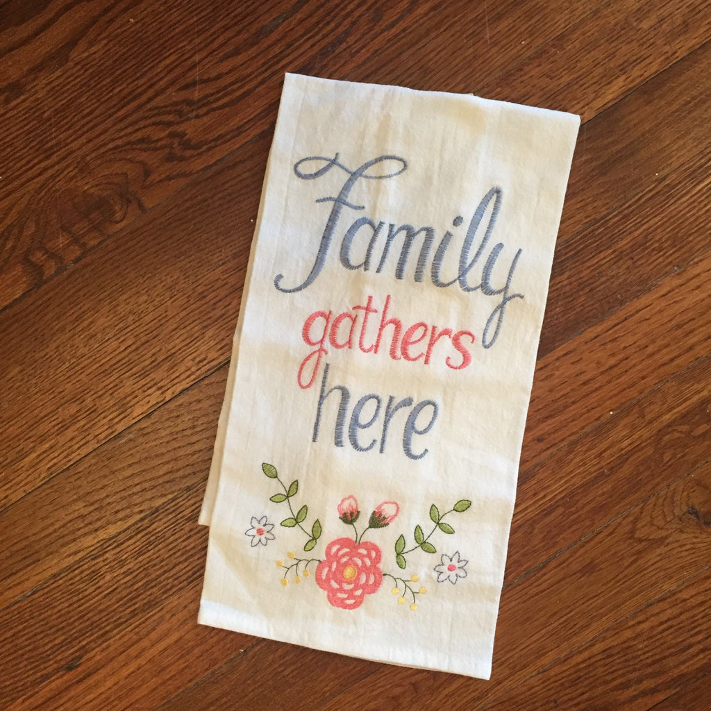 Family Gathers Here Tea Towel