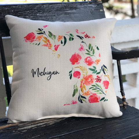 Michigan Floral Pillow