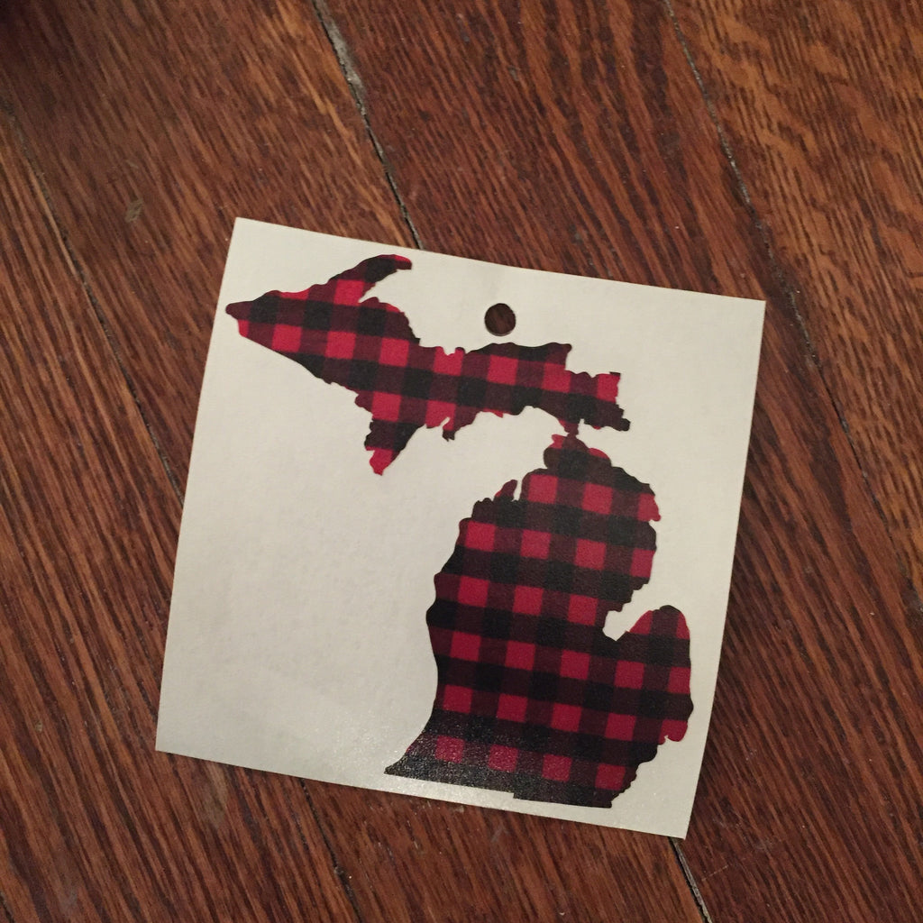 Buffalo Plaid Michigan Decal