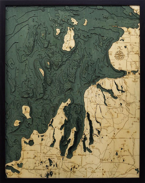 Northwest Michigan, Lower Peninsula Wood Map Art