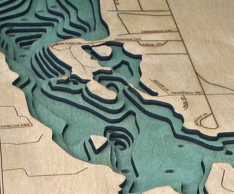 Silver Lake Michigan Wood Map Art