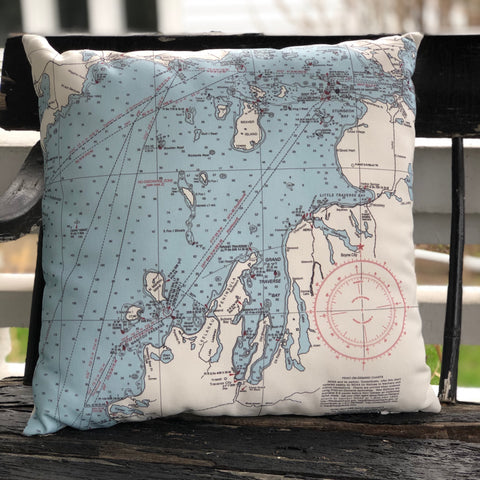 Northwest Michigan Map Pillow