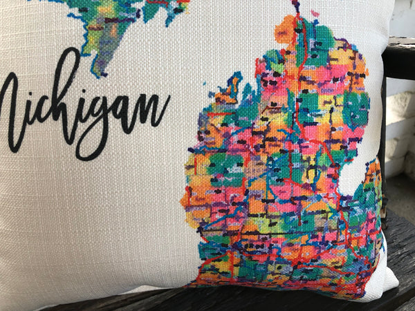 Michigan Map Pillow