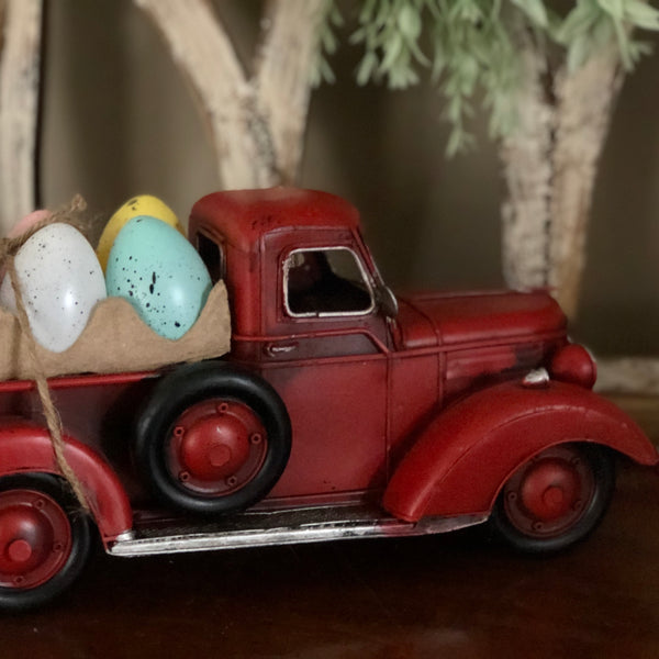 Red Truck with Easter Eggs
