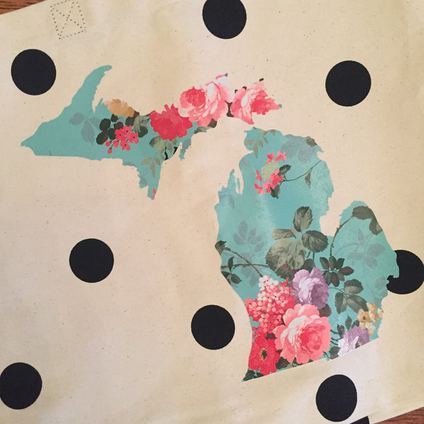Michigan Tote Bag - Vintage Floral