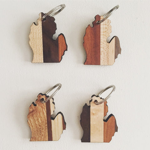 Michigan Wood Keychain