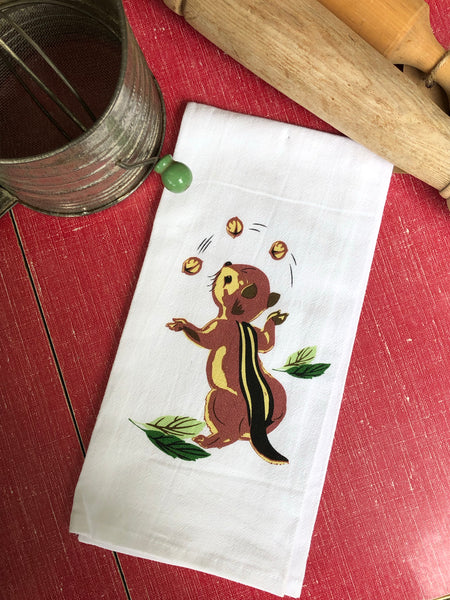 Vintage Chipmunk Tea Towel