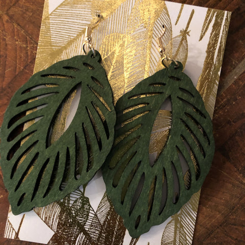 Palm Leaf Wood Earrings