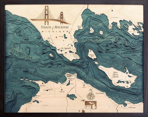 Straits of Mackinac, Michigan Wood Map Art