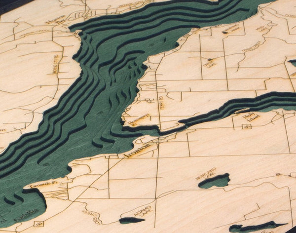 Lake Charlevoix Michigan Wood Map Art