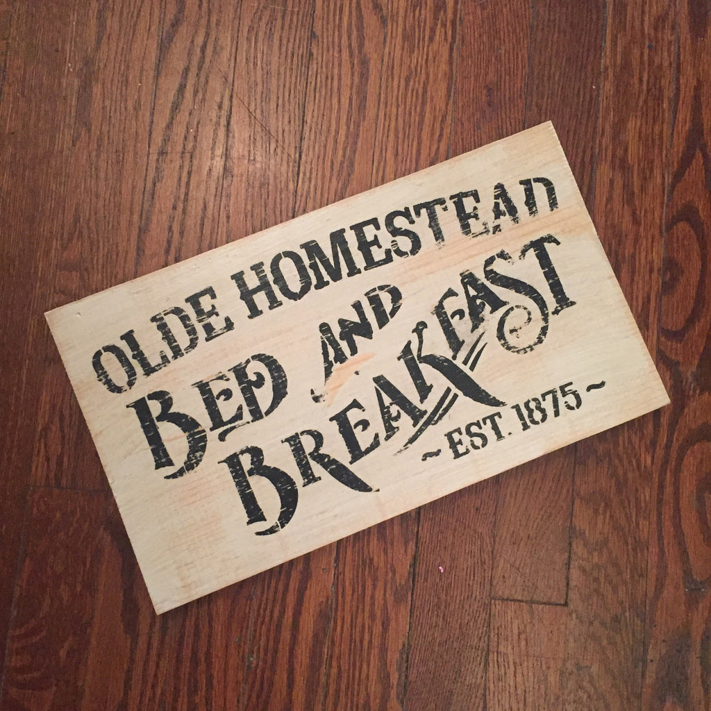 Bed and Breakfast Rustic Sign