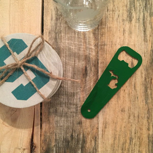 Michigan Bottle Opener - Spartan Green