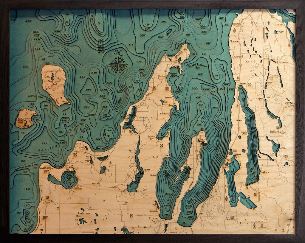 Grand Traverse Bay Wood Map Art Michigan Traverse City Michigan