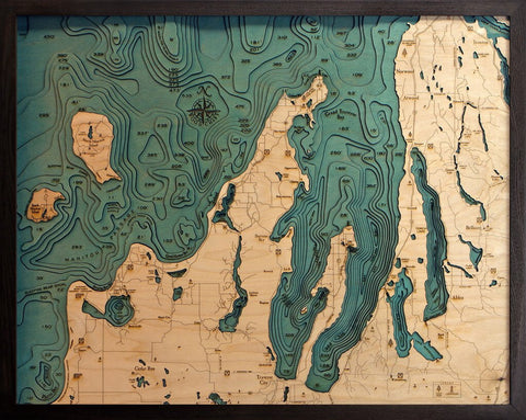 Grand Traverse Bay Wood Map Art
