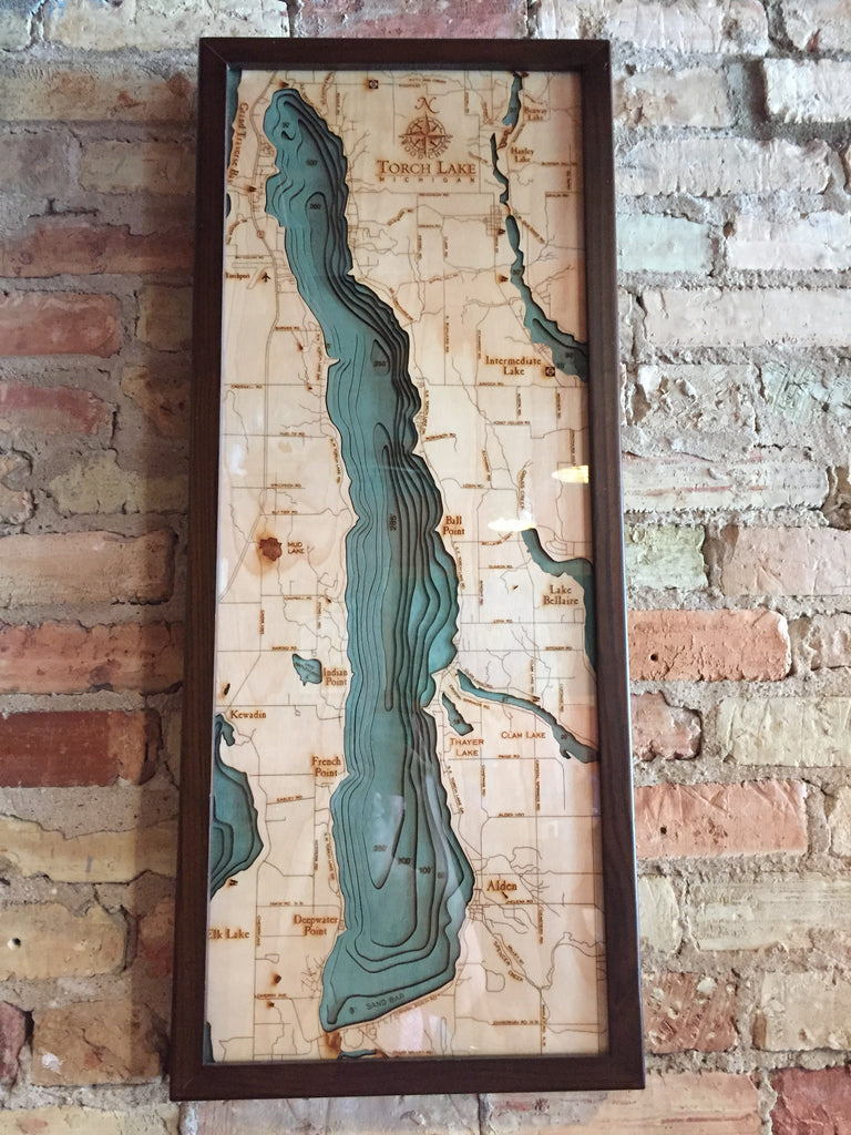 Torch Lake Michigan Wood Map Art