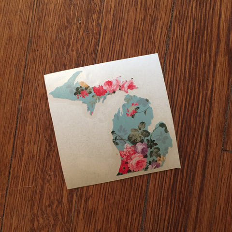 Vintage Floral Michigan Decal