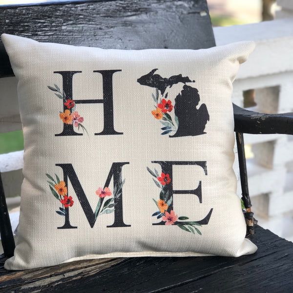 Michigan Home Floral Pillow