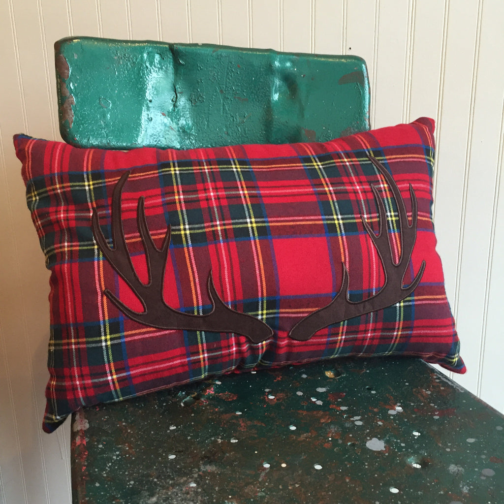 Plaid Deer Antler Lumbar Pillow
