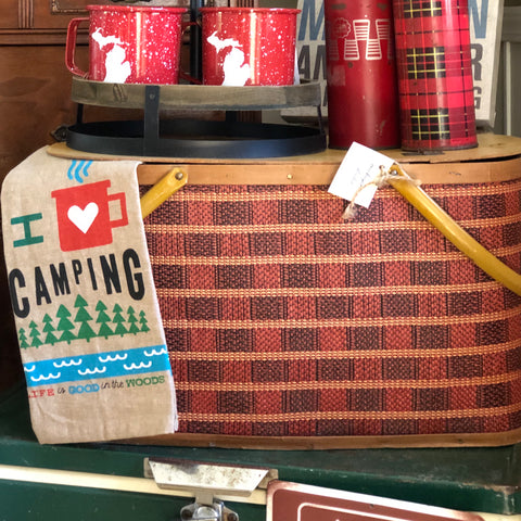 Vintage Plaid Picnic Basket