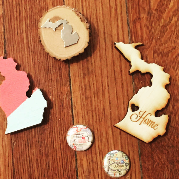 Wood Slice Michigan Magnet