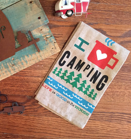 I Love Camping Kitchen Towel
