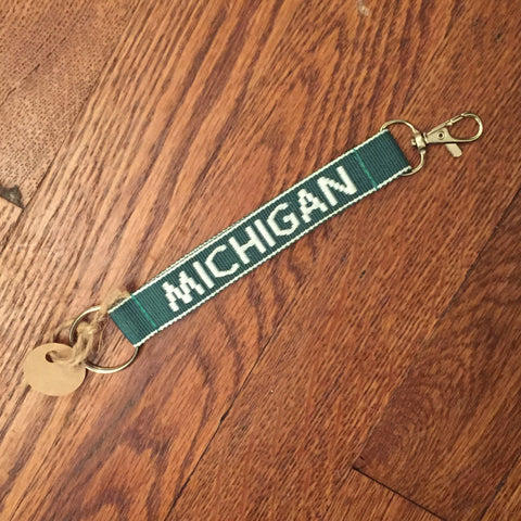 Michigan Key Chain - Green/White