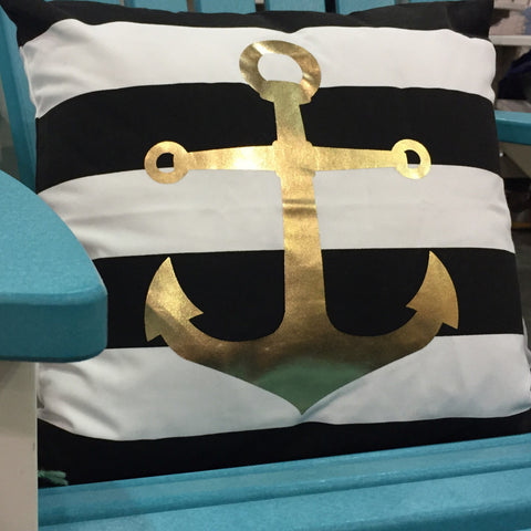 Striped Anchor Pillow